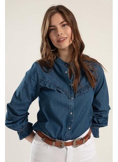 Pattaya Pattaya Kadın Çıt Çıtlı Uzun Kol Kot Gömlek Y20S110-3799 Mavi